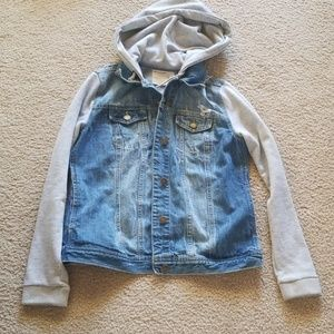 Distressed Blue Jean Jacket-Gray Sleeve and Hood